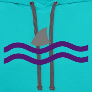 Turquoise SHARK IN THE WATER T-Shirts - Contrast Hoodie