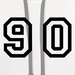 White Number - 90 - Ninety T-Shirts - Contrast Hoodie