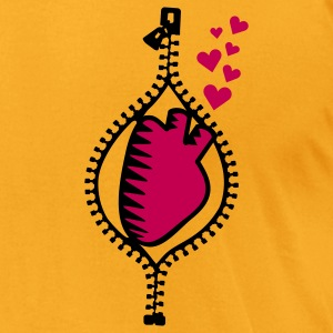 Creme heart behind zipper (2c) Bags  - Men's T-Shirt by American Apparel