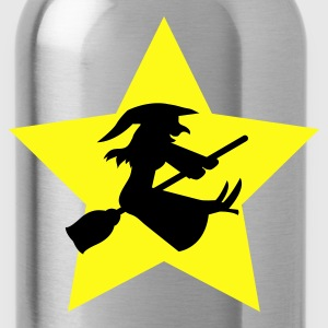 Gold witch on a broomstick on a star T-Shirts - Water Bottle