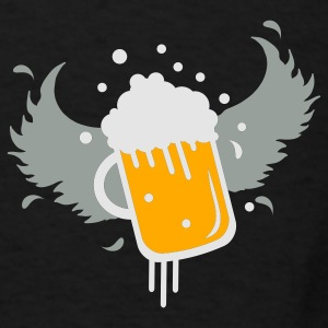 Black Beer glass with wings for Beer Festival visitors. Bags  - Men's T-Shirt