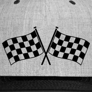 two checkered flags RACING MOTOR SPORTS Women's T-Shirts - Snap-back Baseball Cap