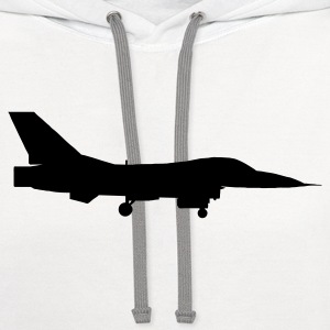 White airplane aircraft fighter jet T-Shirts - Contrast Hoodie