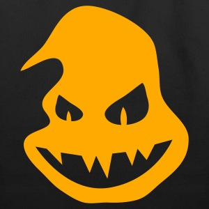 Black Halloween ghost pumpkin scary face smiling with teeth T-Shirts - Eco-Friendly Cotton Tote