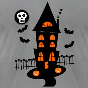 Gray Haunted House With Bats, Skulls And Skull Moon--DIGITAL DIRECT PRINT Long Sleeve Shirts - Men's T-Shirt by American Apparel