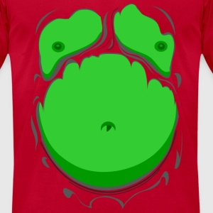 Comic Fat Belly Green, beer gut, beer belly, chest - Men's T-Shirt by American Apparel