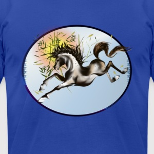 Running Horse Oval - Men's T-Shirt by American Apparel