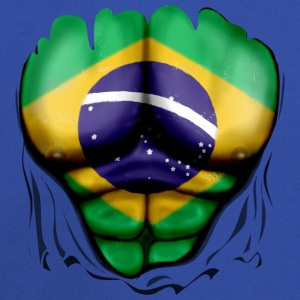 Brazil Flag Ripped Muscles, six pack, chest t-shirt - Kids' Premium Hoodie