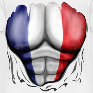 France Flag Ripped Muscles, six pack, chest t-shirt - Toddler Premium T-Shirt