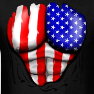USA Flag Ripped Muscles, six pack, chest t-shirt - Men's T-Shirt