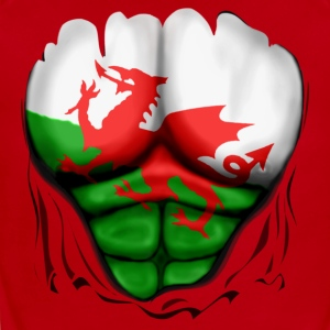 Wales Flag Ripped Muscles, six pack, chest t-shirt - Short Sleeve Baby Bodysuit
