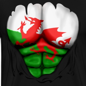 Wales Flag Ripped Muscles, six pack, chest t-shirt - Men's Premium T-Shirt