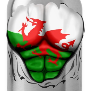 Wales Flag Ripped Muscles, six pack, chest t-shirt - Water Bottle