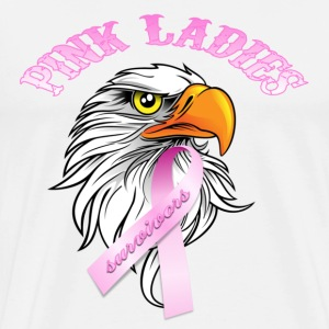 White Pink Ladies Eagle Head Cancer Survivor  Hoodies - Men's Premium T-Shirt