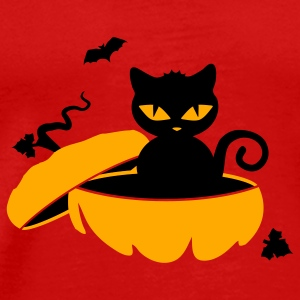 Red schwarze_katzeblack cat sits in a pumpkin Caps - Men's Premium T-Shirt