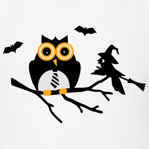 White owl and bird sitting on a branch Long Sleeve Shirts - Men's T-Shirt