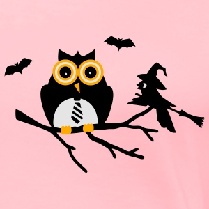 Pink owl and bird sitting on a branch Sweatshirts - Women's Premium T-Shirt