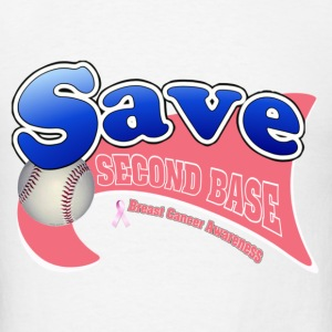 White Save Second Base Breast Cancer Awareness Ribbon Hoodies - Men's T-Shirt