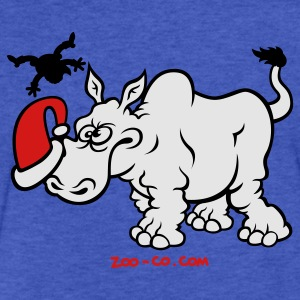 Santa Claus Meets a Rhino Sweatshirts - Fitted Cotton/Poly T-Shirt by Next Level