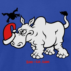 Santa Claus Meets a Rhino Hoodies - Men's T-Shirt by American Apparel