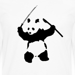 Katana Wielding Panda Shirt - Men's Premium Long Sleeve T-Shirt