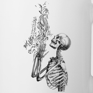 Praying Skeleton B&W ( HD Pixel Design ) - Coffee/Tea Mug