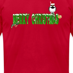 Merry Christmas Sparrow (green) - Men's T-Shirt by American Apparel