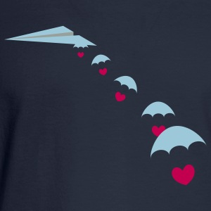 Paper Plane with Skydiver Hearts Women's T-Shirts - Men's Long Sleeve T-Shirt
