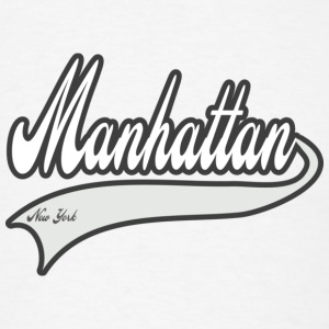 manhattan new york white Buttons - Men's T-Shirt