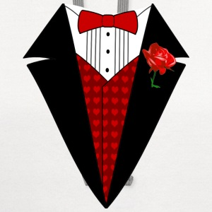 Valentine's Day Tuxedo T-Shirt, Red Heart w/ Rose - Contrast Hoodie
