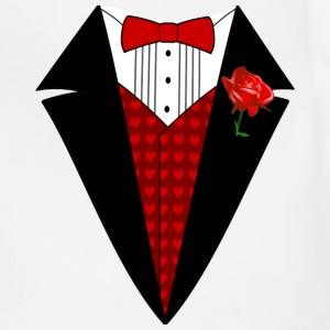 Valentine's Day Tuxedo T-Shirt, Red Heart w/ Rose - Adjustable Apron