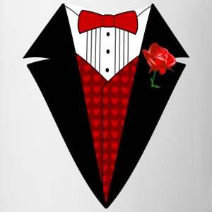 Valentine's Day Tuxedo T-Shirt, Red Heart w/ Rose - Coffee/Tea Mug