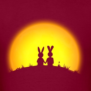 sunset romance bunny bunnies hare rabbit easter hill sun date gras Hoodies - Men's T-Shirt