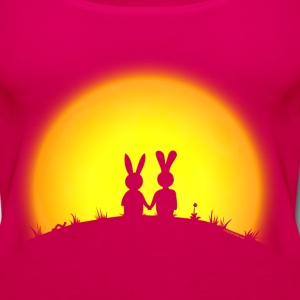 sunset romance bunny bunnies hare rabbit easter hill sun date gras Hoodies - Women's Premium Tank Top