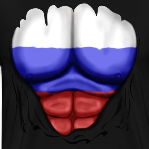 Russia Flag Ripped Muscles, six pack, chest t-shirt - Men's Premium T-Shirt