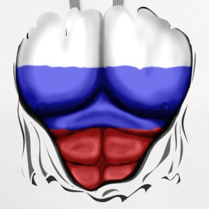 Russia Flag Ripped Muscles, six pack, chest t-shirt - Contrast Hoodie