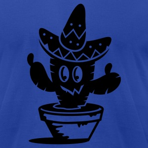 A cactus with a sombrero hat  Hoodies - Men's T-Shirt by American Apparel