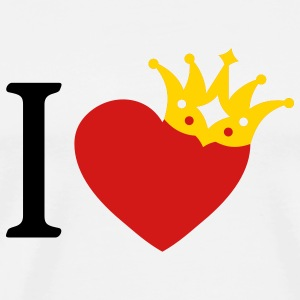 I LOVE ... with crown askew + your text - Men's Premium T-Shirt