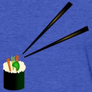 Cute Sushi Roll With Fancy Chopsticks--DIGITAL DIRECT PRINT Sweatshirts - Fitted Cotton/Poly T-Shirt by Next Level