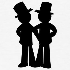 two grooms gay wedding Buttons - Men's T-Shirt