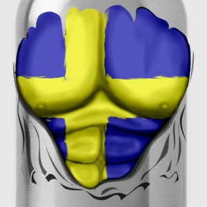 Sweden Flag Ripped Muscles, six pack, chest t-shirt - Water Bottle