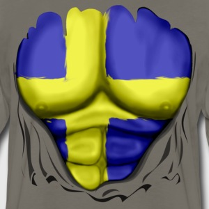 Sweden Flag Ripped Muscles, six pack, chest t-shirt - Men's Premium Long Sleeve T-Shirt