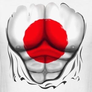 Japan Flag Ripped Muscles, six pack, chest t-shirt - Men's T-Shirt