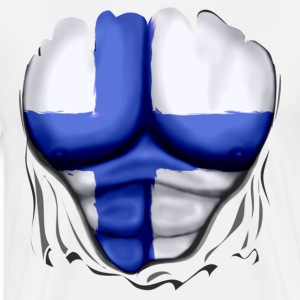 Finland Flag Ripped Muscles, six pack, chest t-shirt - Men's Premium T-Shirt