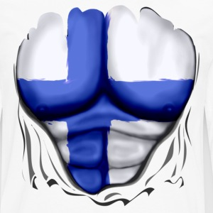 Finland Flag Ripped Muscles, six pack, chest t-shirt - Men's Premium Long Sleeve T-Shirt