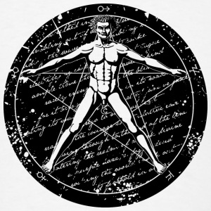 Agrippa Pentagram - Vitruvian Man (round for light Buttons - Men's T-Shirt