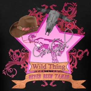 CowGirl Wild Thing never been tamed Pink 3 Leather Hoodies - Men's T-Shirt