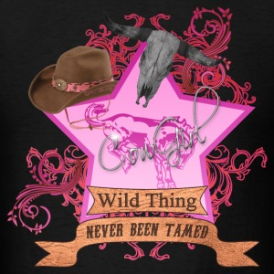 CowGirl Wild Thing never been tamed Pink 2 Leather Hoodies - Men's T-Shirt