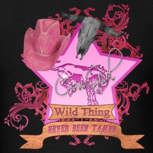 CowGirl Wild Thing never been tamed Pink 4 Leather Hoodies - Men's T-Shirt