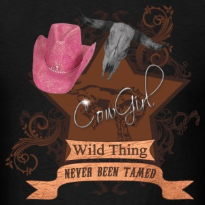 CowGirl Wild Thing never been tamed Pink Hat 4 Hoodies - Men's T-Shirt